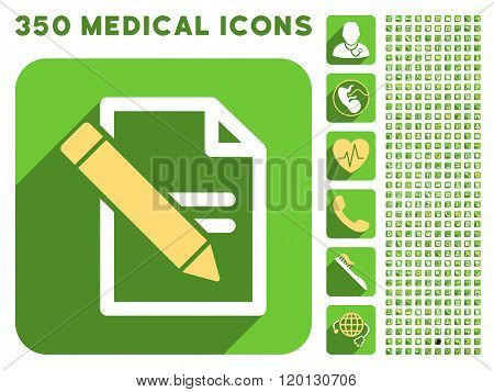 Edit Records Icon and Medical Longshadow Icon Set