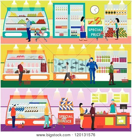 Supermarket interior vector illustration flat style. Customers buy products in food store. People sh