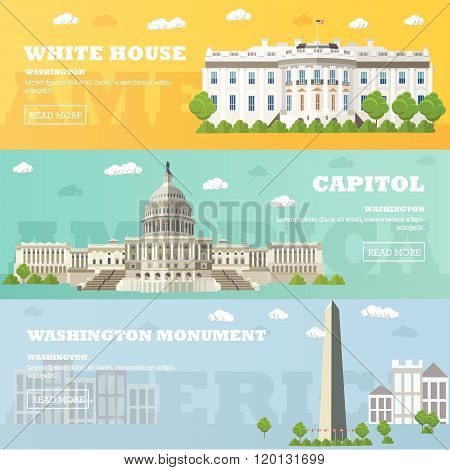 Washington DC tourist landmark banners. Vector illustration. Capitol, White House.