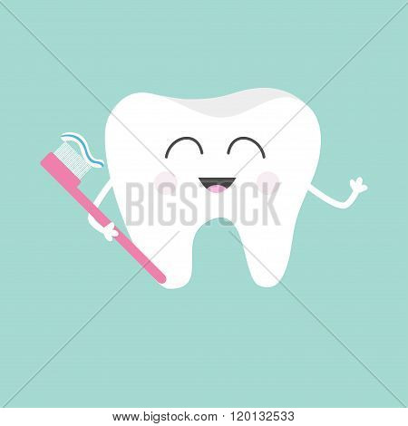 Tooth Holding Toothbrush With Toothpaste. Cute Funny Cartoon Smiling Character. Children Teeth Care