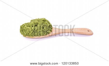 Wolffia Globosa Or Fresh Water Alga, Water Meal, Swamp Algae On The Wooden Spoon With White Backgrou