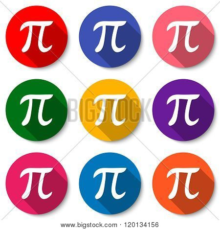 Set Of Colorful Flat Icons With Pi Sign. Mathematical Constant, Irrational Number, Greek Letter. Abs