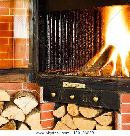 Hot Wood Fire Burning In A Chimney Insert