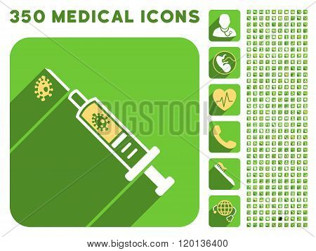 Infection Injection Icon and Medical Longshadow Icon Set