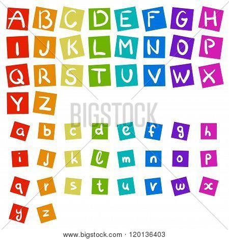 English rainbow vector handwritten alphabet