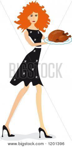 Girl With Turkey