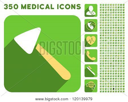 Neurologist Hammer Flat Icon And Medical Longshadow Flat Icons
