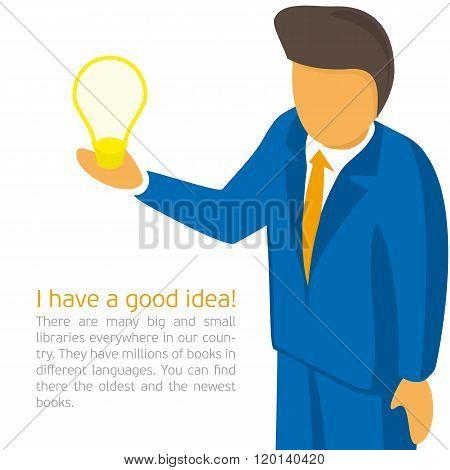 Businessman holding a light bulb.