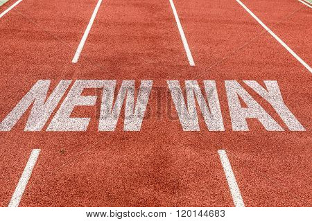 New Way written on running track