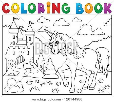 Coloring book unicorn near castle - eps10 vector illustration.