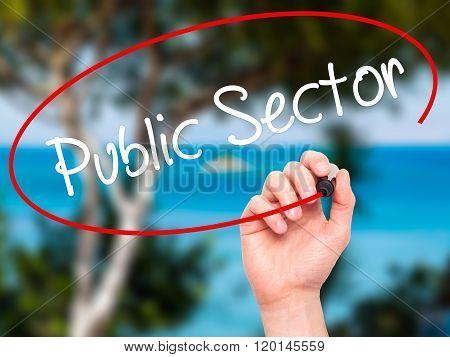 Man Hand Writing Public Setor With Black Marker On Visual Screen.