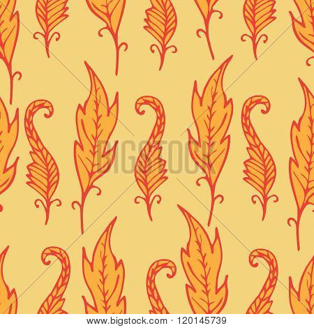 Repeating Floral And Feather Pattern. Seamless Texture With Orange Leaves. Bright Background.