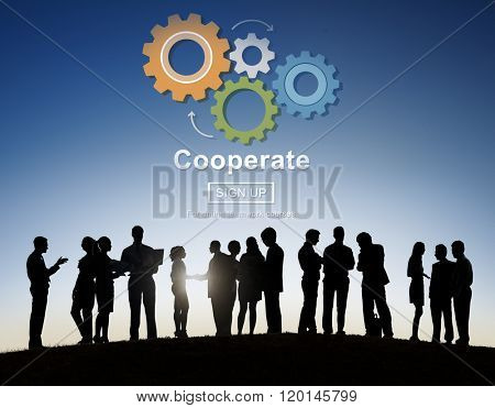 Cooperate Collaboration Team Cog Technology Concept poster