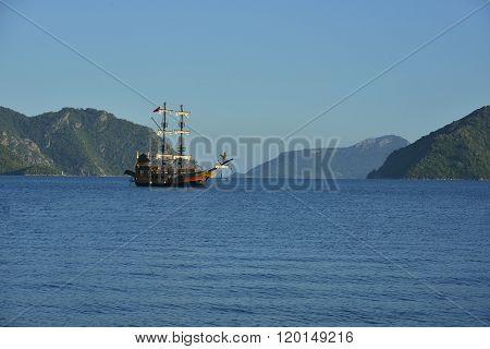 Brigantine Against Beautiful Seascape
