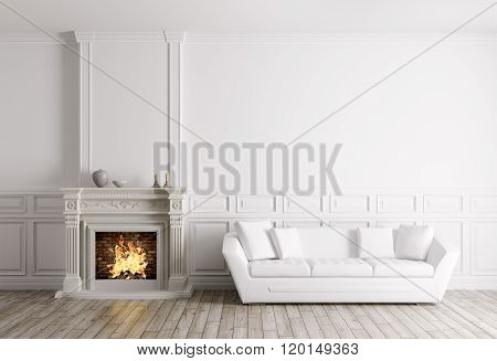 Classic Interior With Fireplace And Sofa 3D Render
