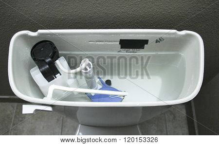 Internal Plumbing Of A Modern Toilet