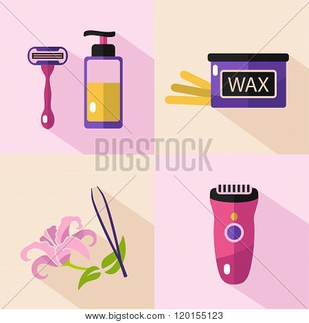 Icons set of epilation tools