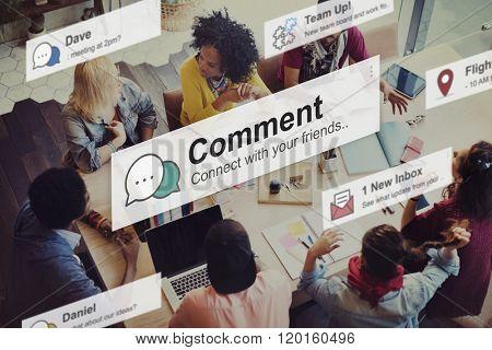 Comment Communication Social Media Response Statement Concept poster