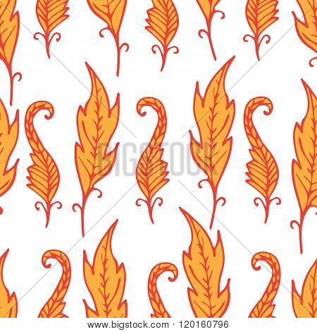 Repeating Floral And Feather Pattern. Seamless Texture With  Bright Orange Leaves On White Backgroun