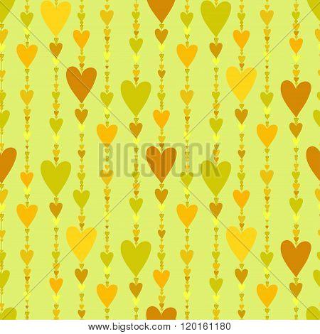 Seamless pattern. Hearts striped background.