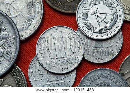 Coins of East Germany. East German one pfennig coin (1975) coined in the German Democratic Republic.