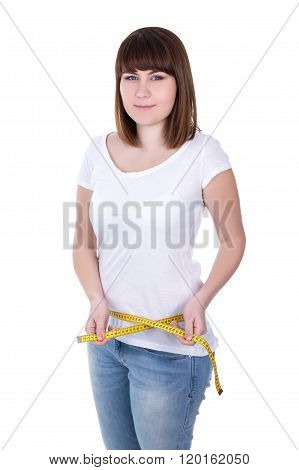 Young Beautiful Plus Size Woman Measuring Waist Line Isolated On White