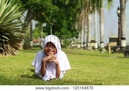 Happy Muslim Asian Girl In The Park
