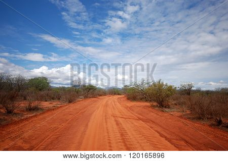 A Red Road In Tsavo-west Nationalpark / Kenia