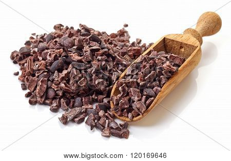 Heap Of Cacao Nibs On White Background