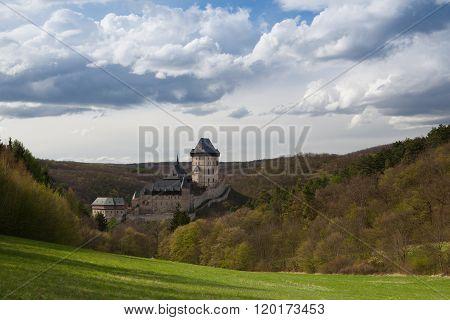 Famous Karlstejn castle near Prague in Czech Republic