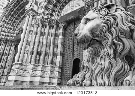 Details of cathedral Saint Lawrence in Genoa Italy.