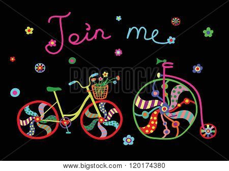 Cute beautiful bicycle with birds and flowers and decorative wheels. Vector illustration