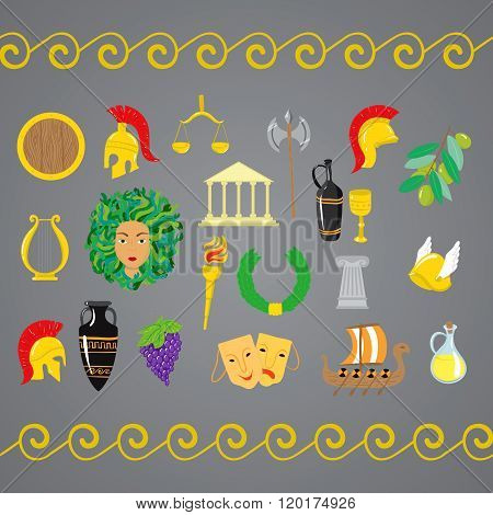 Set Of Ancient Greece Elements