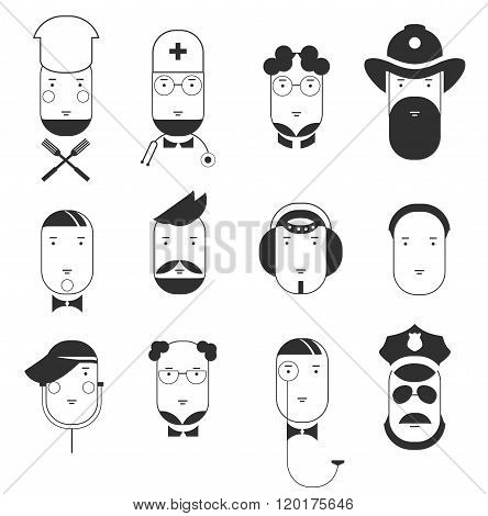 Creative flat faces icons of people professions