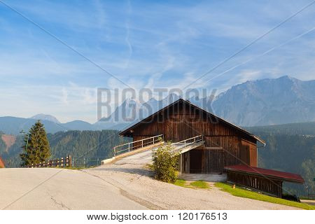 Old woodshed in the high mountains in Austria