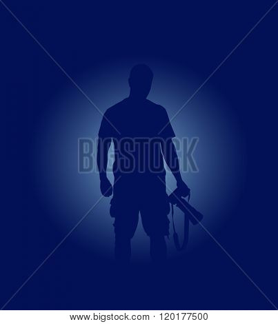 Vector simple blue ackground with silhouette of photographer