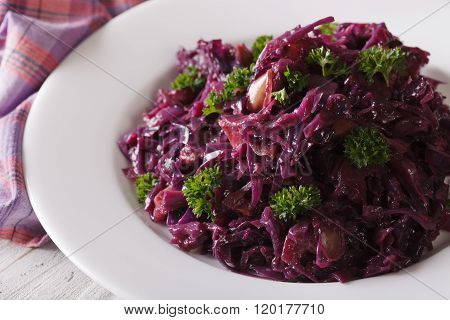 Braised Red Cabbage Close-up On A Plate. Horizontal