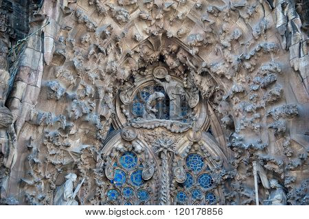 30.04.2011. Barcelona, Spain. Facade of the Nativity Sagrada Familia. Nativity Facade as the name implies is dedicated to the first stage of the life of Christ. It depicts posledovatelngo early stages of life of Christ.