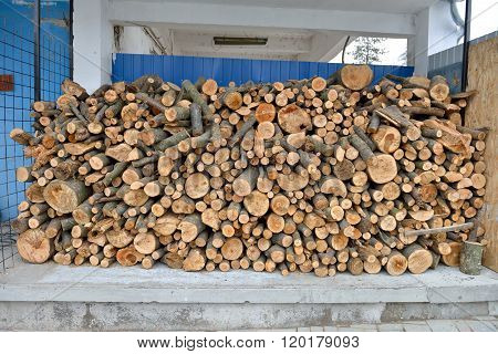 Raw Debarked Wood Logs In A Lumber Staging And Storage Yard. Raw Timber Stacked And Ready To Used In