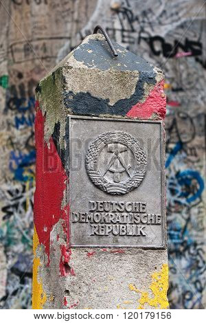Ddr Border Marker, East Berlin, Germany