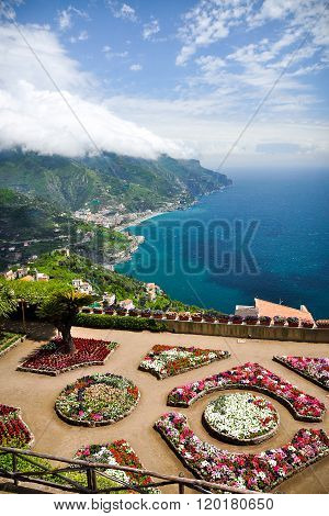 View from Villa Rufolo gardens in Ravello, Italy