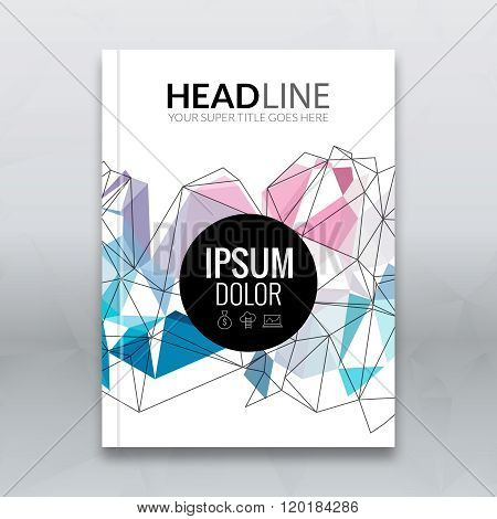 Cover report colorful triangle geometric lines prospectus design background, cover flyer magazine, b