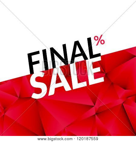 Final sale vector banner background. Promotional marketing poster. Final sale background for market