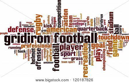 Gridiron football word cloud concept. Vector illustration