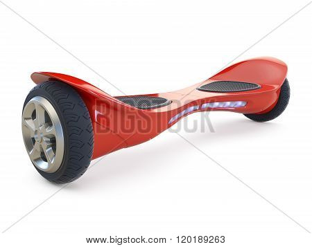 Red color hoverboard isolated on white