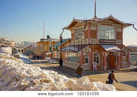 Irkutsk, Russia - February 16, 2016: Typical Russian Log Wooden House In The Located In The Historic