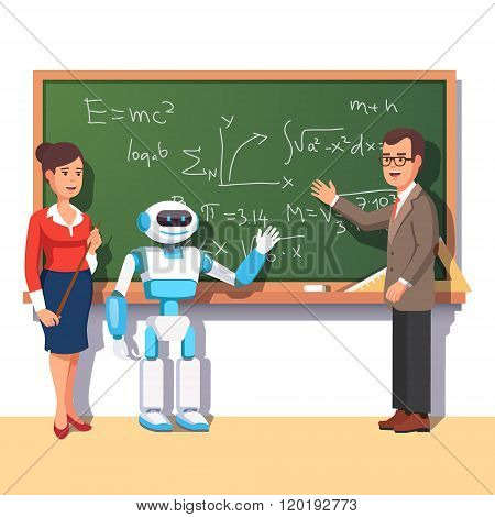 Modern robot helping teachers