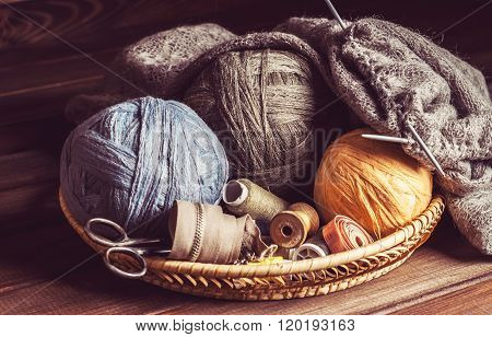 Knitting, Tangles Scissors And Coils In A Basket