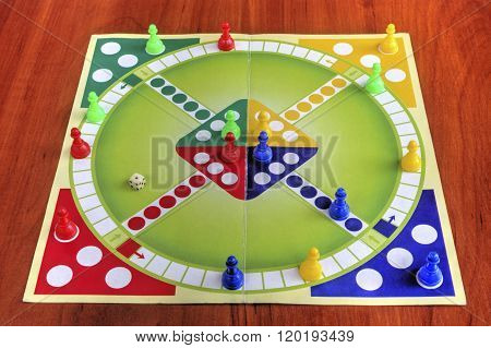 Colorful board for playing traditional children's game