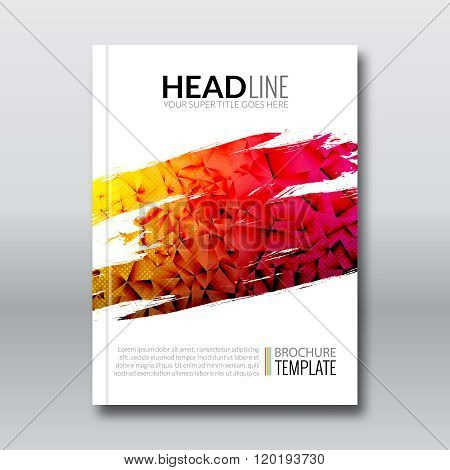 Cover report colorful triangle geometric prospectus design background, cover flyer magazine, brochure book cover template layout, vector illustration. poster